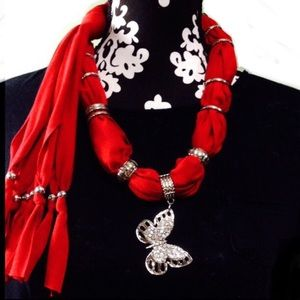 """red butterfly jewelry scarf rayon knit 60"""" long"""